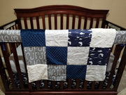Boy Crib Bedding- Navy bass, gray hooks, hunting.fishing., ivory crushed minky,  and navy minky
