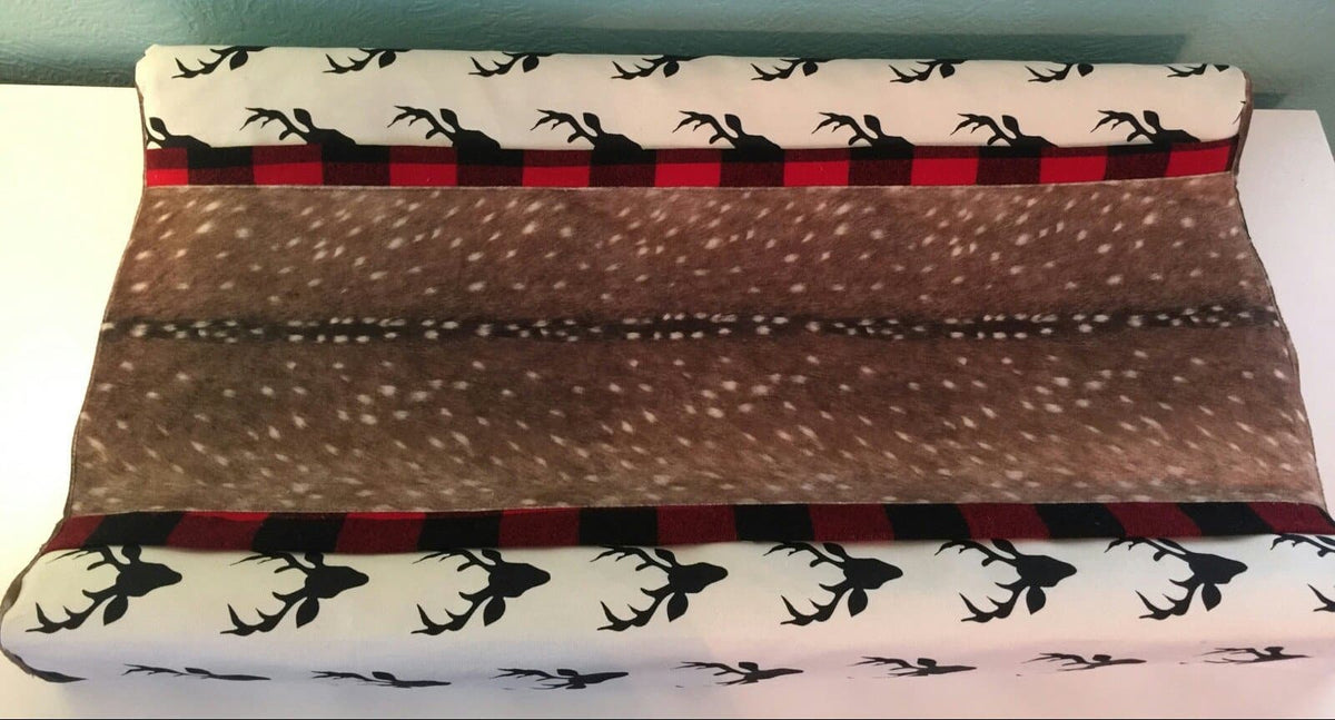 Deluxe Changing Pad Cover- black buck with deer skin minky and red black check trim