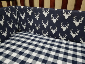 Ready to Ship Boy Crib Bedding - Navy Buck,  Gray Arrow, Navy Check, Gray Arrow, Rustic Farm Crib Bedding