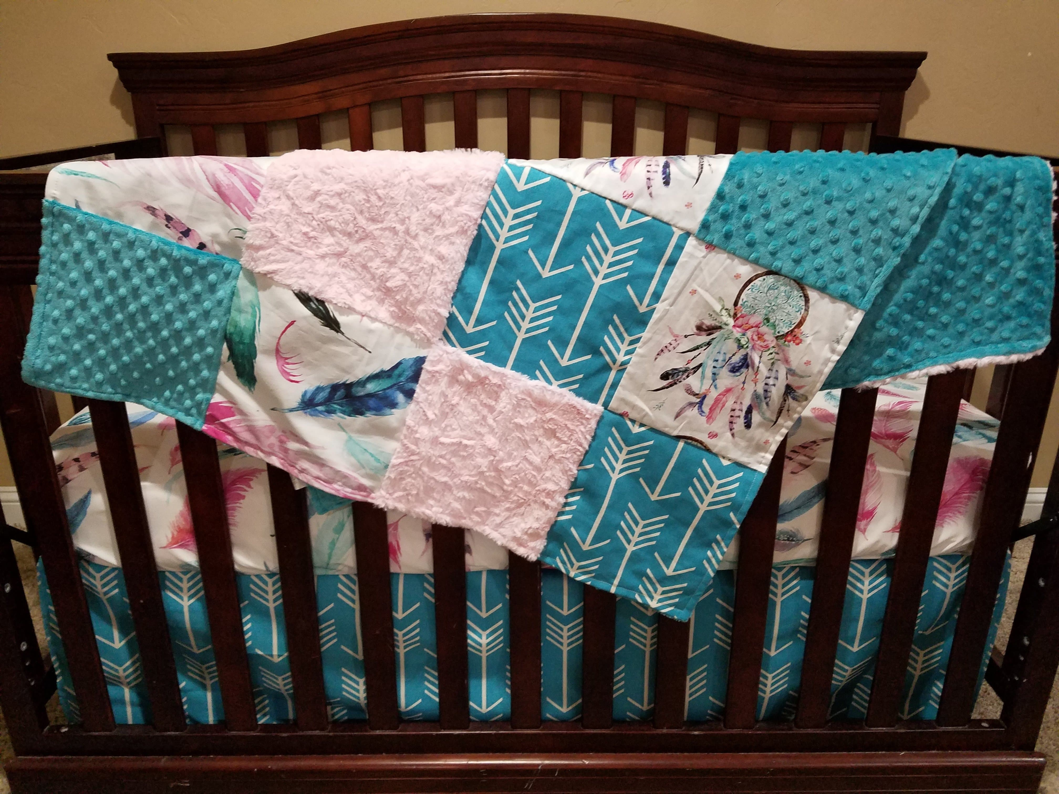 geometric crib piece coral grey collection bedding gray pictures and lily pink nursery com amazon cribs incredible skirt basics aqua teal patchwork image woodland chevron serena awesome mint