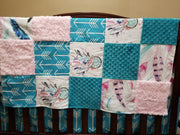 Girl Crib Bedding - Dream Catcher, Feathers, Arrows, Teal Minky, and Light Pink Crushed Minky