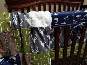 Custom Boy Crib Bedding- Buck, Bass, and Green Fishing Hooks, Hunting and Fishing Collection