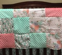 Custom Girl Crib Bedding - Cactus, Steer Skull, Flowers,  Mint, and Coral