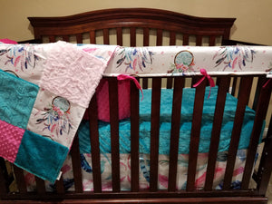 Custom Girl Crib Bedding - Dream Catcher, Feathers, Teal Embossed Arrow Minky, Blush Crushed Minky,  and Fuschia Minky, Dream Catcher Crib Bedding