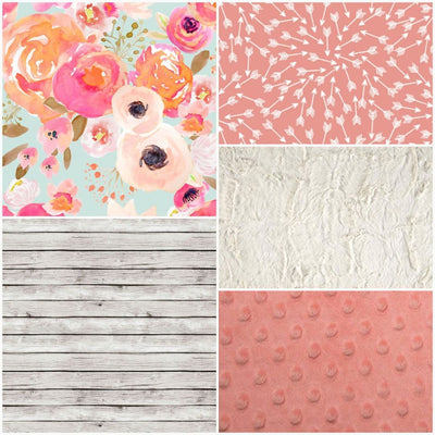 Custom Girl Crib Bedding - Floral, Coral Random Arrows, White Washed Wood, Rustic Nursery Collection