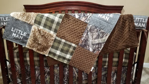 Custom Boy Crib Bedding- Little Man, Camo Minky, Olive Plaid, Fawn Minky, and Brown, Little Man Camo Nursery Set