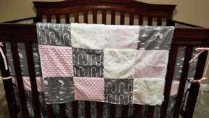 Custom Girl Crib Bedding - Bass, fishing, hooks, and blush check, Fishing Baby Bedding