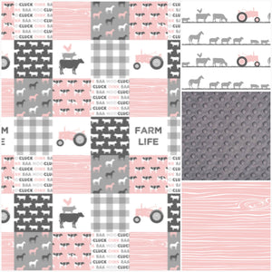 Custom Girl Crib Bedding - Blush pink and Gray Farm Life, Farm Crib Bedding