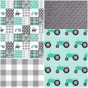 Custom Neutral Crib Bedding - Mint Gray Farm Life, tractors, Horse, Cows, Farm Life Crib Bedding