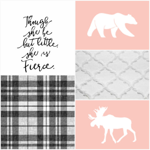 Girl Crib Bedding - Moose, Bear, Plaid, and Fierce