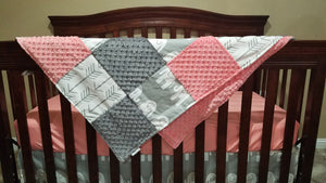Girl Crib Bedding - Gray Ele, White Gray Arrow, Gray Minky, and Coral Minky
