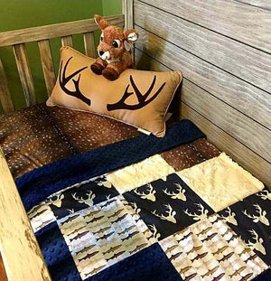 Custom Boy Crib Bedding - Navy Buck, Deer Skin Minky, Trout, Ivory Crushed Minky, Hunting and Fishing Nursery Set