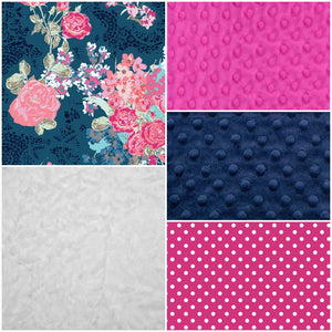 Ready to Ship Girl Crib Bedding - Navy Floral, Fuschia Dots, Navy Minky, and White Crushed Minky, Floral Nursery Collection