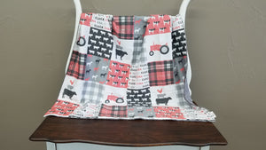 Blanket - Coral and Gray Farm Life with Gray Minky -Baby, Toddler, Twin, Full, Queen