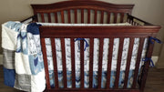 Boy Crib Bedding - Little Man antlers, brown woodgrain, blue fletching arrows, ivory  crushed minky,  and navy minky