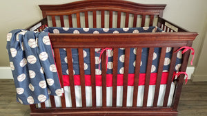 Custom Boy Crib Bedding- Vintage Baseball Personalized Name, Baseball Nursery Set