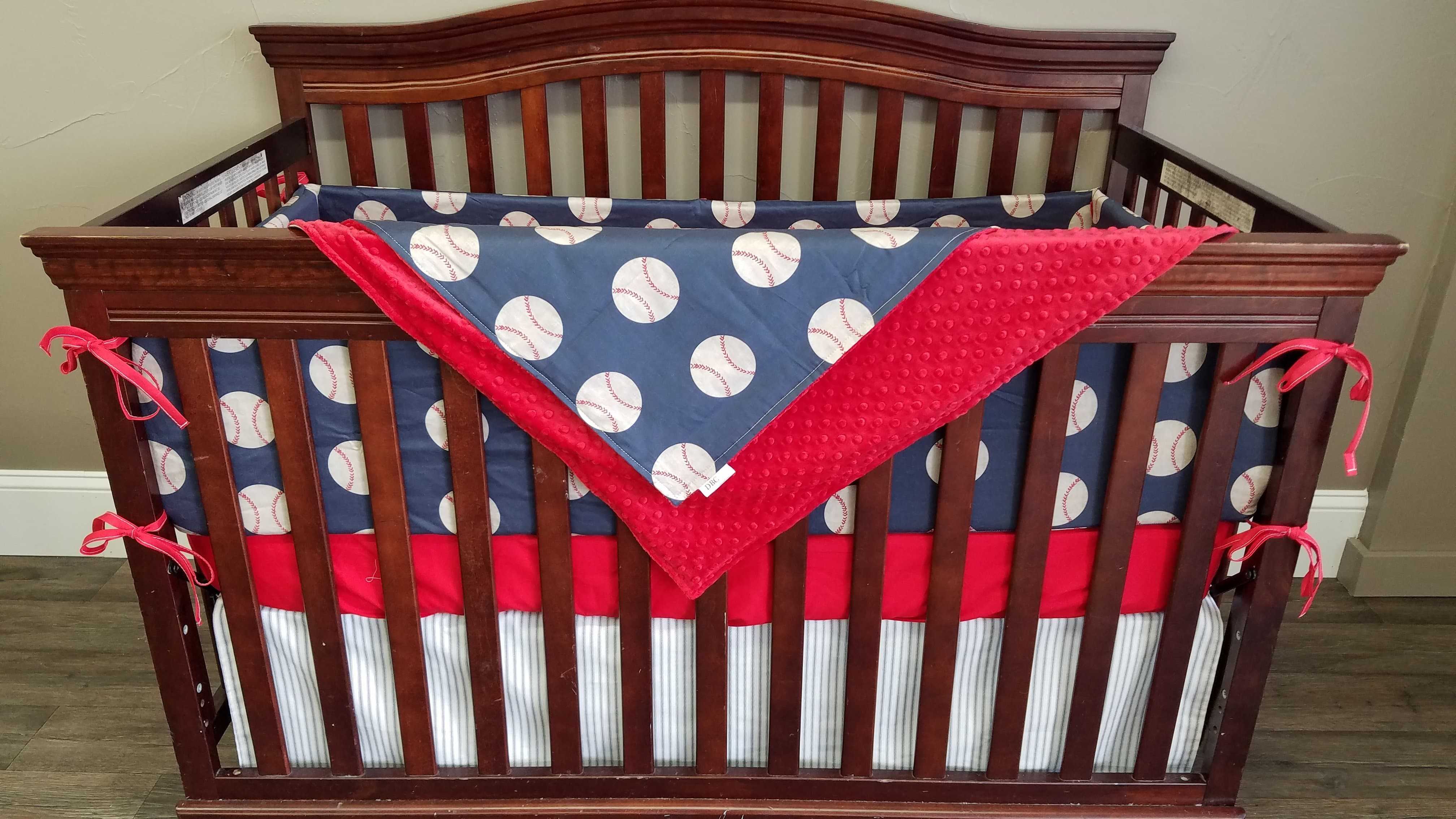 Boy Crib Bedding Vintage Baseball Personalized With