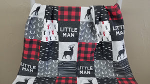 Custom Boy Crib Bedding - Little Man Deer, Check, and Antlers, Little Man Deer Nursery Set
