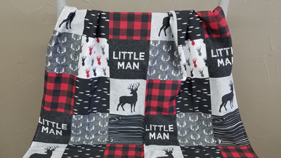 Blanket - Little Man Deer Patchwork Print Baby Blanket or Toddler Comforter