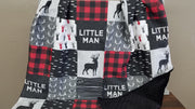 Little Man Deer Patchwork Fabric Baby Blanket or Quilted Comforter- Buck, Lodge - Baby, Toddler, Twin, Full, Queen