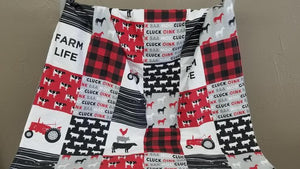 Custom Boy Crib Bedding - Farm Life, red black check, tractors, Farm Tractor Nursery Set