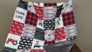 Blanket - Red Black Farm Life with Black Minky -Baby, Toddler, Twin, Full, Queen