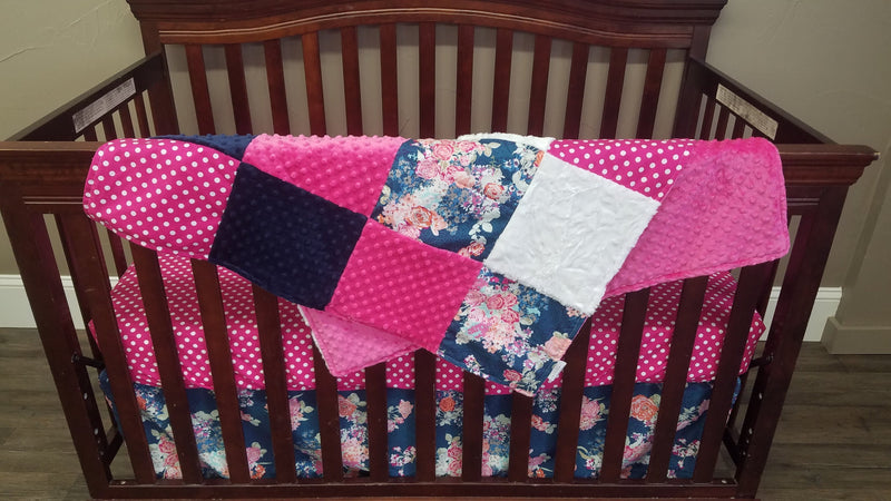 Pre-Order Girl Crib Bedding - Navy Floral and Pink Dot Collection