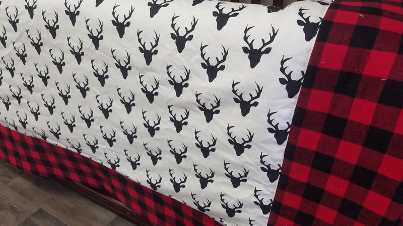 Twin, Full, or Queen Comforter - Black Buck with Red Black Buffalo Check Border