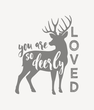 Standard Blanket - You Are So Deerly Loved Deer Blanket, white gray