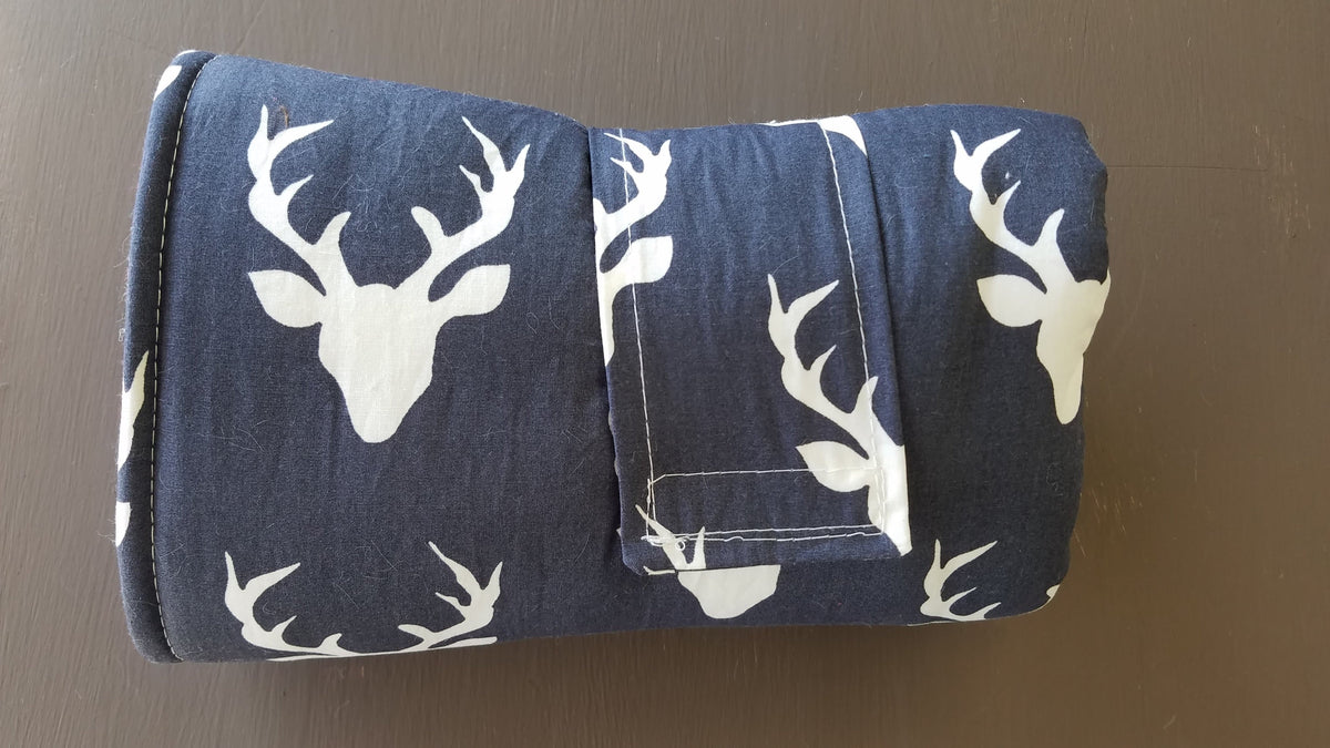 On the Go Changing Pad - Buck in Navy and gray minky interior