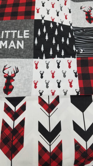 Custom Boy Crib Bedding - Red Black Buck, Red Black Check, and Little Man, Little Man Crib Bedding
