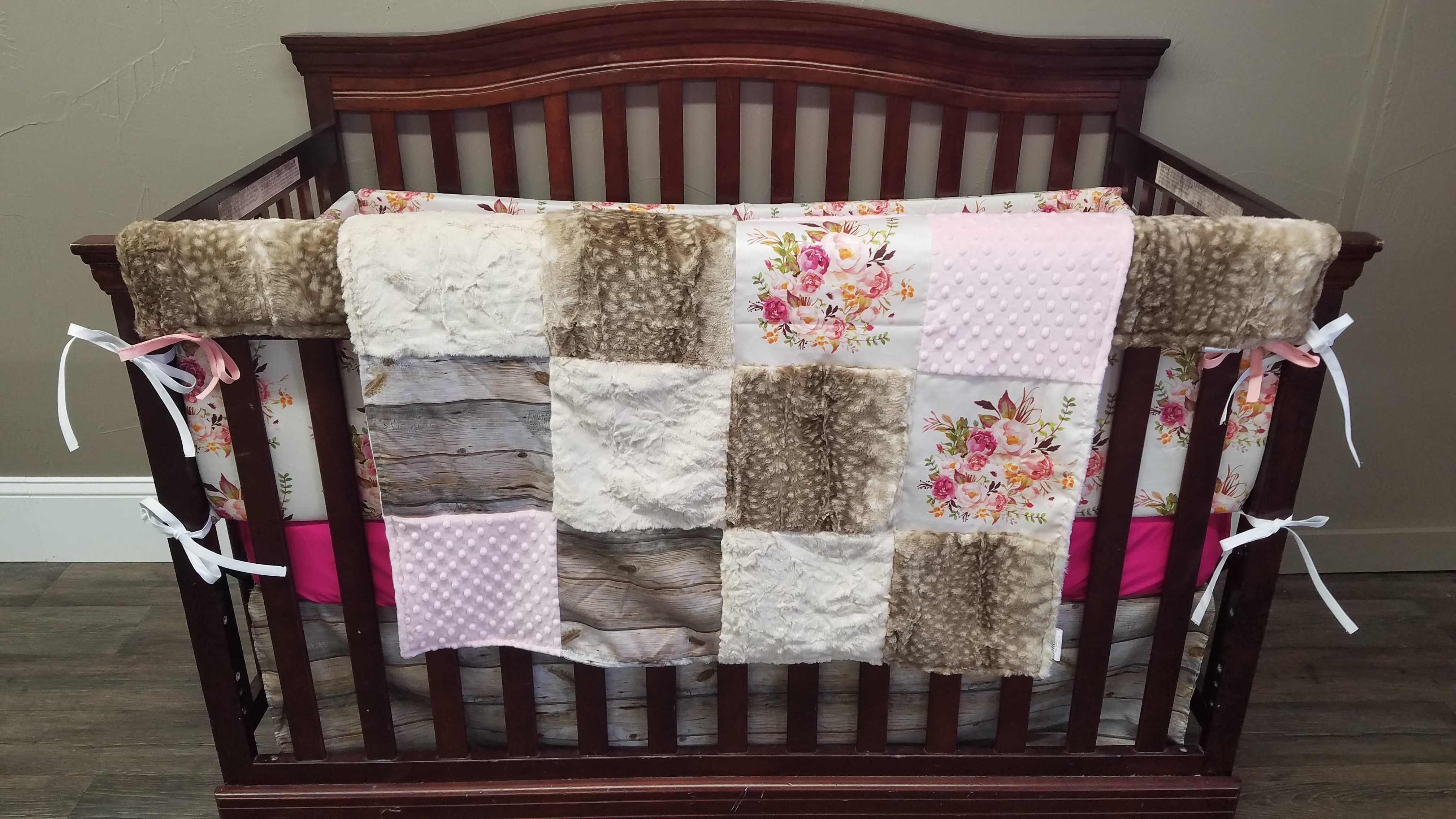 Girl Crib Bedding Antique Floral Barnwood And Fawn