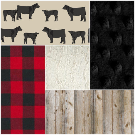 Blanket - Black Angus Cow, Red Black Check, Natural Barnwood,  Ivory Crushed Minky,  and Black Minky Patchwork Blanket