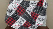 Boy Crib Bedding - Little Man, Red Black Check