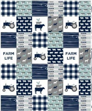 Blanket - Navy and Gray Farm Life with Gray Minky -Baby, Toddler, Twin, Full, Queen