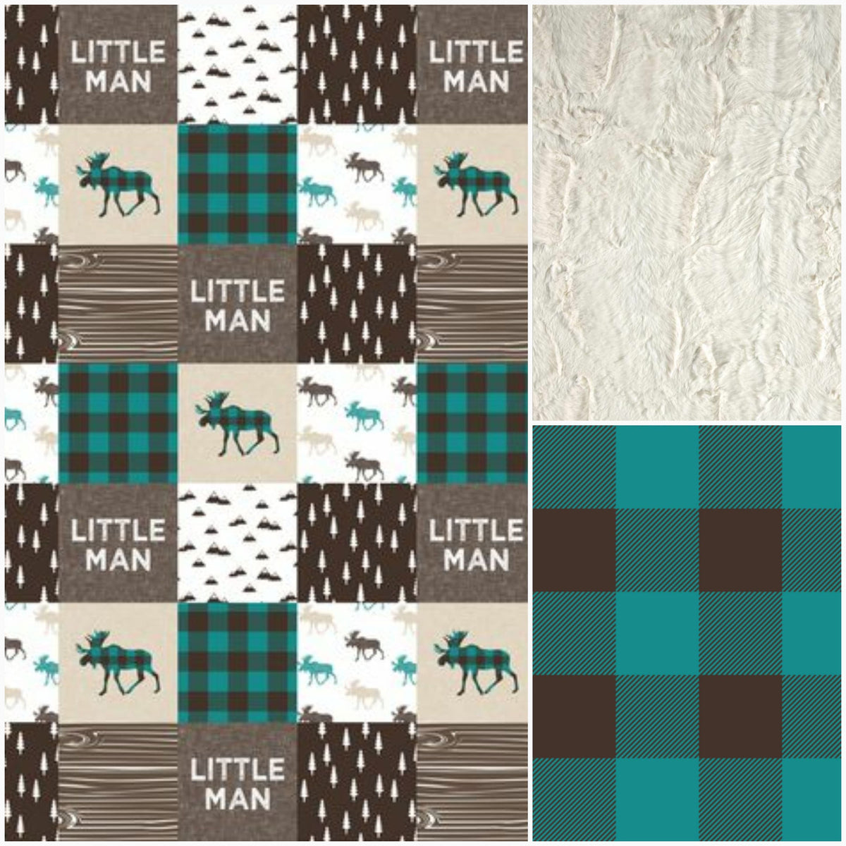 Custom Boy Crib Bedding - Little Man Moose, Teal Buffalo Check, and Brown, Little Man Moose Crib Bedding