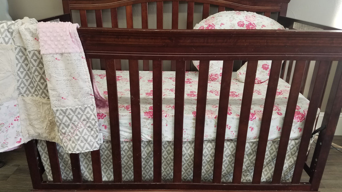 Ready to Ship Girl Crib Bedding-Romantic Woodland Antlers, Roses, and Aztec, Antlers and Roses Nursery Collection