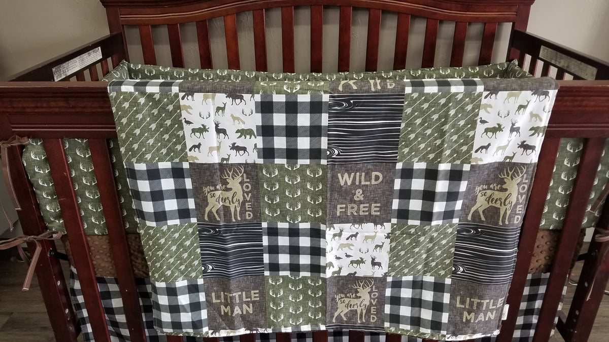 Custom Boy Crib Bedding - Little Man, Check, Deerly Loved, Antlers, Olive, Little Man Collection