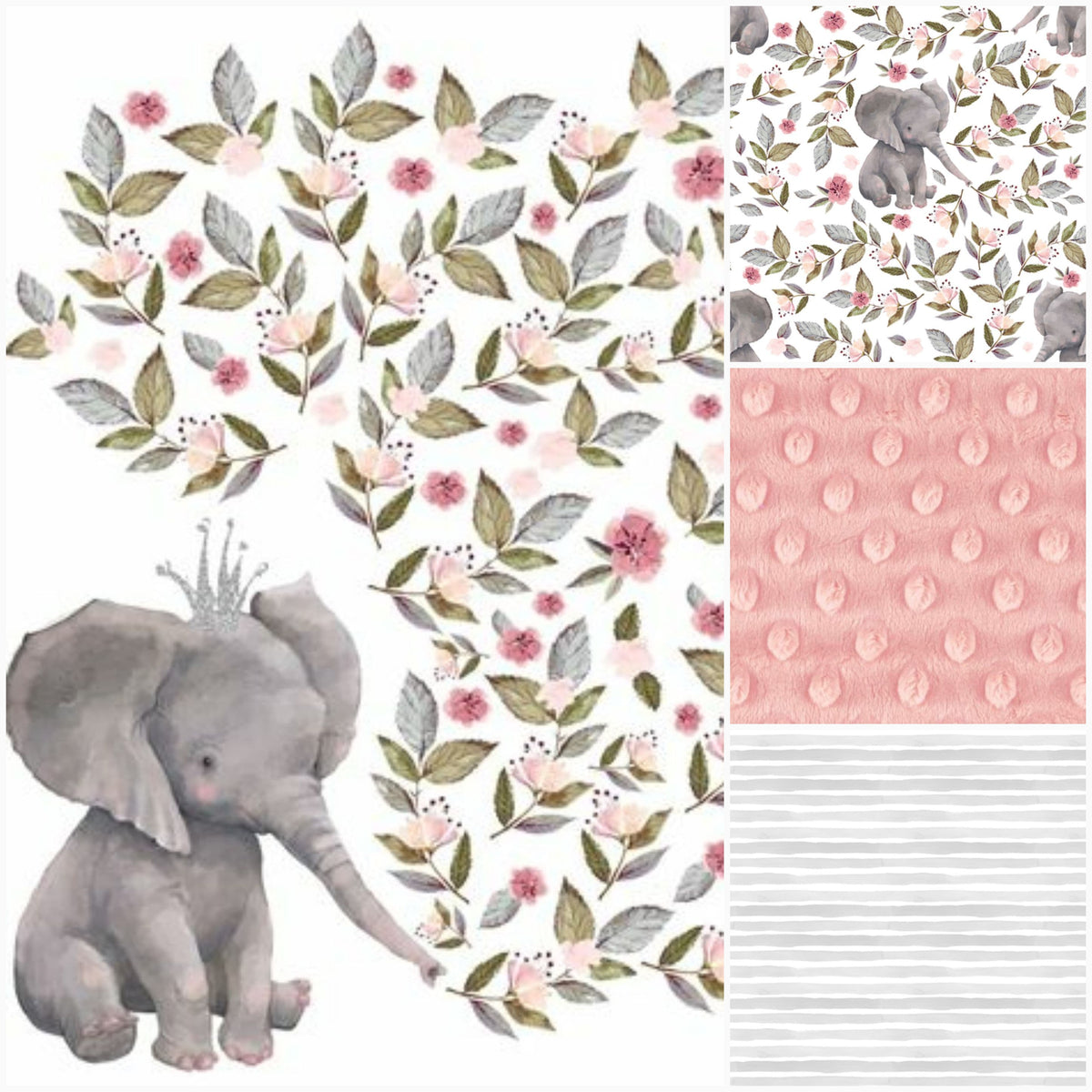 Girl Crib Bedding - Elephants, Flowers, and Stripes