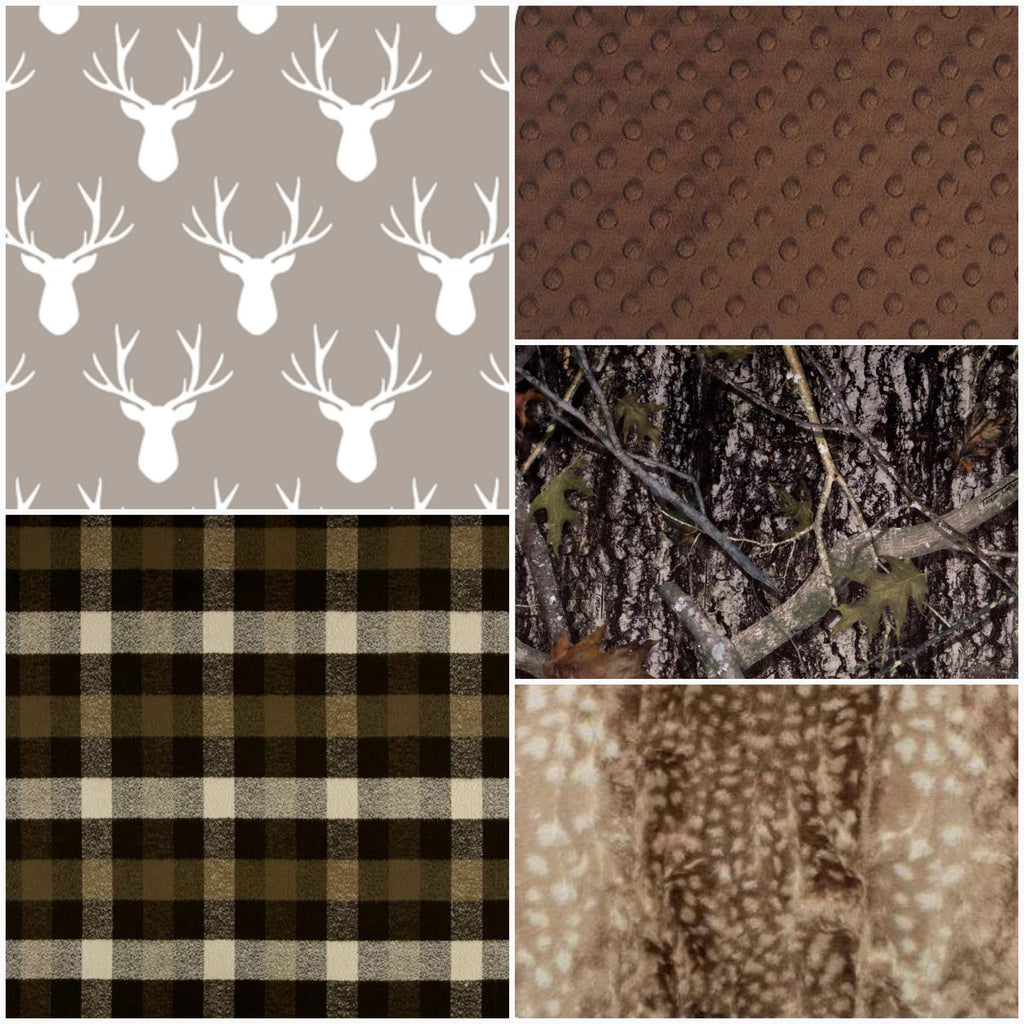 Ready to Ship - antlers, plaid, camo, and fawn minky