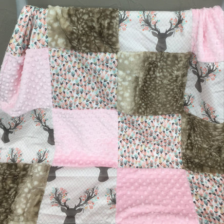 Deer Baby Girl Blanket - Fawn, Feathers, Deer Skin Minky, Blush Minky, and Ivory Crushed Minky Patchwork Blanket