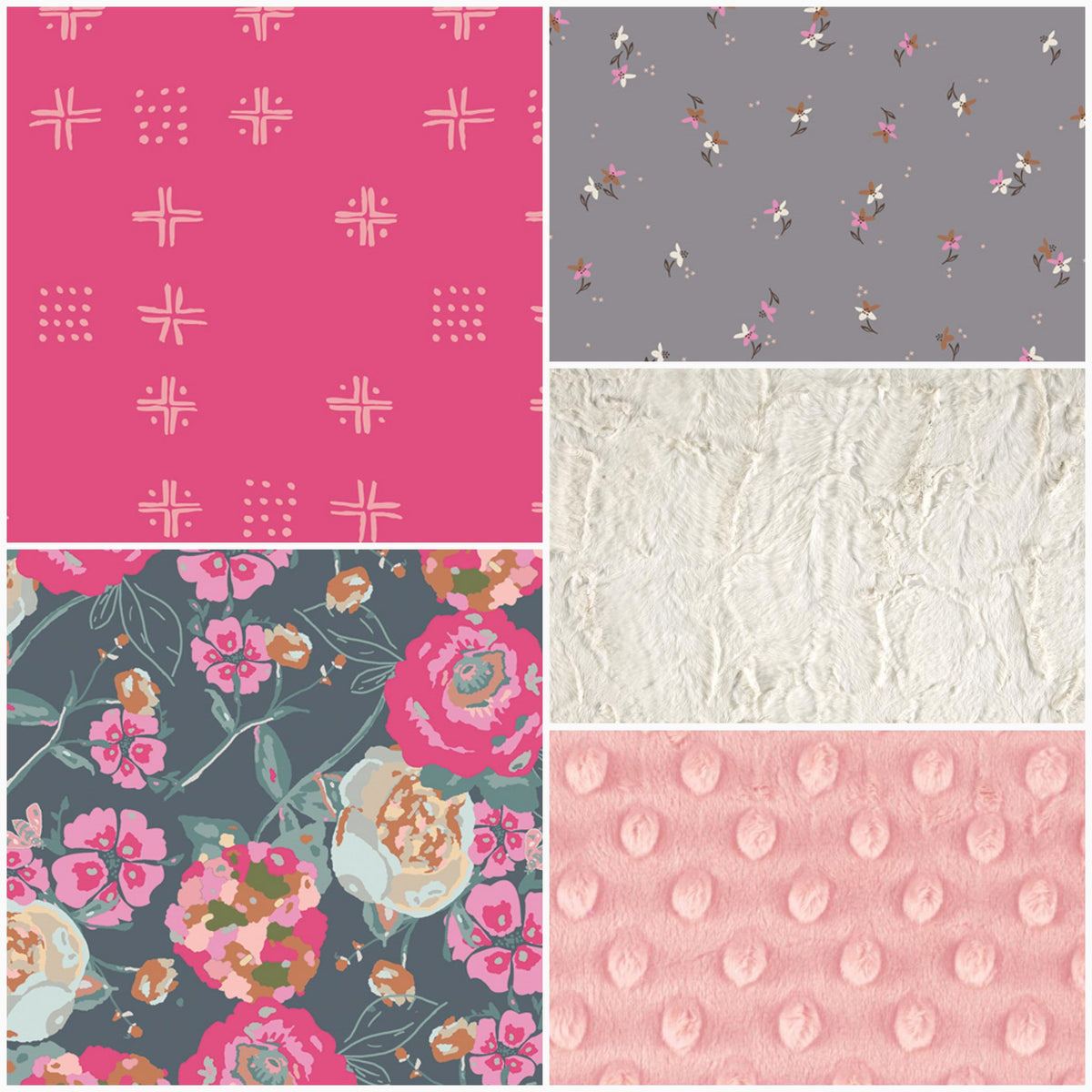 Custom Girl Crib Bedding - Gray Pink Floral, Petite Roses, and Pink