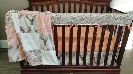 Basic Crib Bedding Set -Fawn, Feathers, and Peach, Floral Antler Crib Bedding
