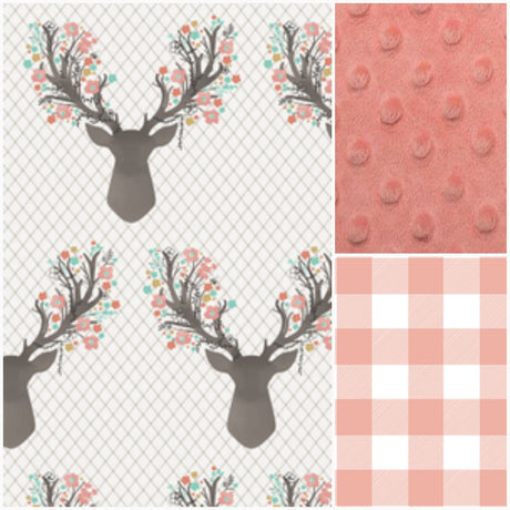 Basic Crib Bedding Set - Tulip Fawn and Tulip Check, Floral Antler Crib Bedding