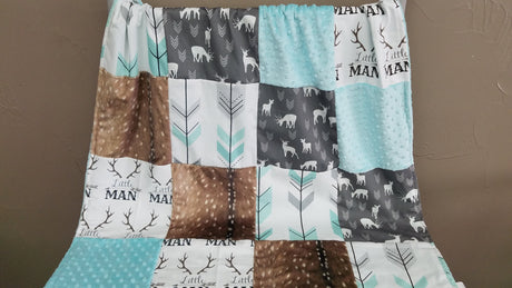 Blanket - Little Man Antlers, Gray deers, Deer Skin Minky, Arrows Patchwork blanket