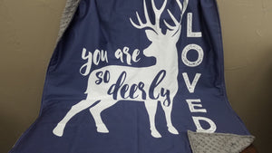 Standard Blanket - You Are So Deerly Loved  Deer Blanket, navy
