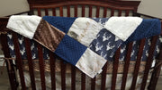 Boy Crib Bedding - Navy buck, Birch Skin, Deer Skin Minky