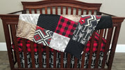 Boy Crib Bedding - Gray buck, black arrow, Deer Skin minky, Aztec, and red black check