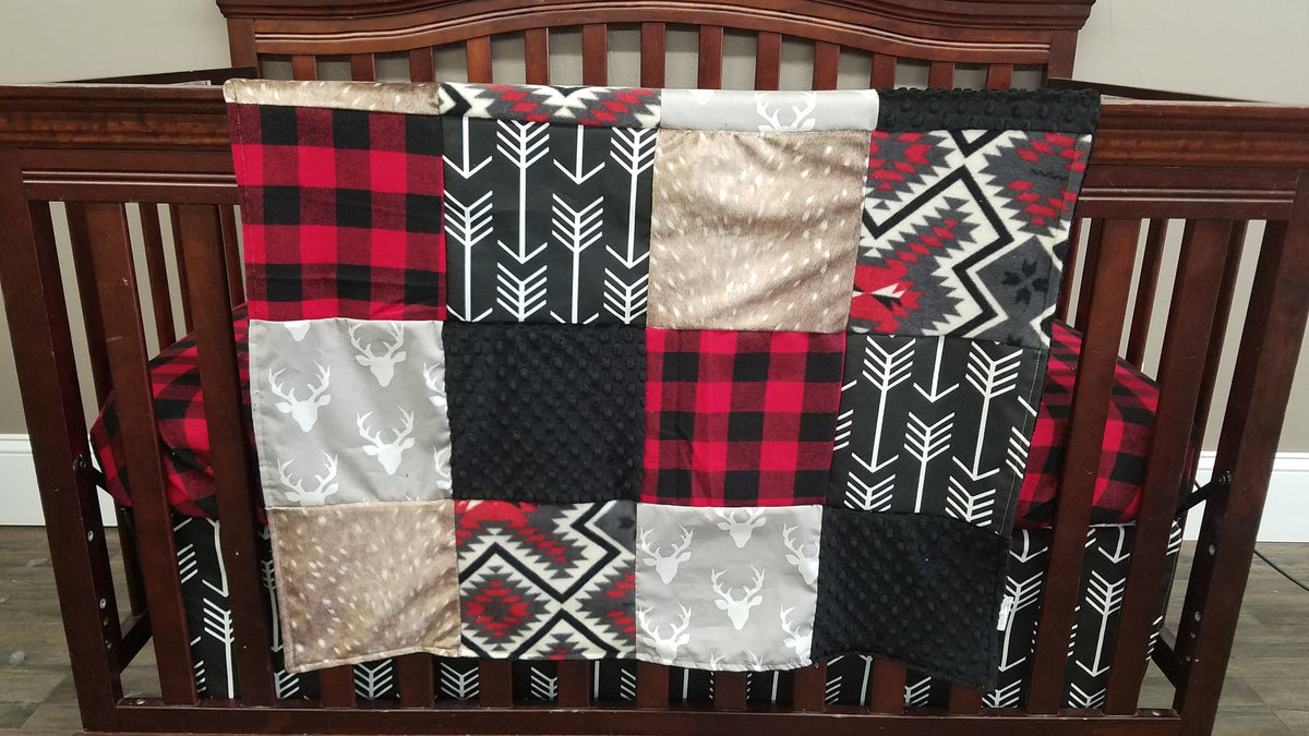 2 Day Ship Baby Boy Crib Bedding - Light Gray buck, black arrow, Deer Skin minky, Aztec, and red black check, Woodland Crib Bedding