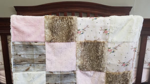 Custom Girl Crib Bedding - Floral Antlers, Fawn Minky, Barn Wood, Blush Embossed Arrow Minky,  and Ivory Crushed Minky